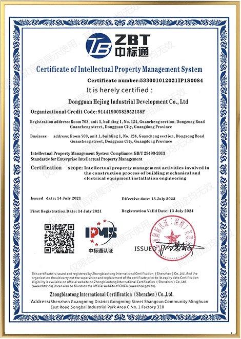 知识产权管理体系认证证书EN
